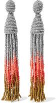Oscar de la Renta Ombré Beaded Clip Earrings