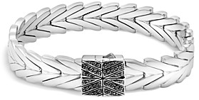 John Hardy Sterling Silver Modern Chain Bracelet with Black Sapphire and Black Spinel