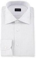 Ermenegildo Zegna Graph-Check Long-Sleeve Dress Shirt, White
