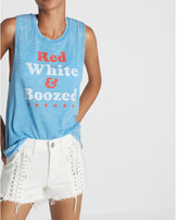 Express red white and boozed burnout muscle tank
