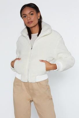 Nasty Gal Womens Make a Break Fur It Faux Fur Jacket - White