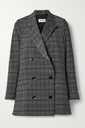 Leset Stili Double-breasted Prince Of Wales Checked Woven Blazer - Black