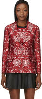 Mother of Pearl Red Cotton-Silk Floral Nadia Blazer