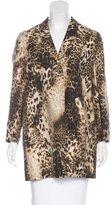 Maje Leopard Print Notch-Lapel Coat