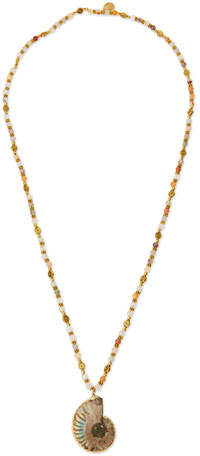 Devon Leigh Long Mixed-Bead Shell Pendant Necklace