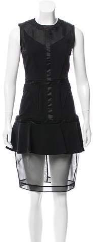 Givenchy Wool-Paneled Knee-Length Dress
