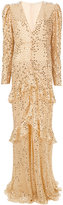 Alessandra Rich ruffled long sleeved sequin gown