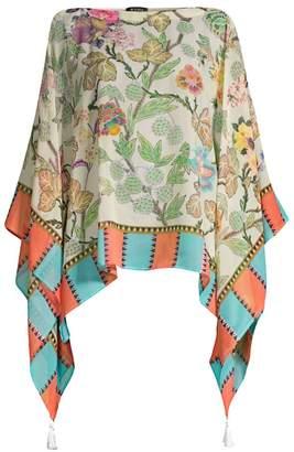 Etro Floral Tassel Poncho