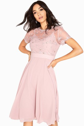 Arabella 3D Floral Mesh Overlay Midi Dress
