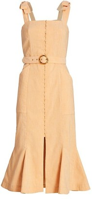 Jonathan Simkhai Dawn Tie-Strap Belted Apron Flare Dress