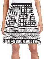 Saks Fifth Avenue BLACK Geo-Print A-Line Skirt