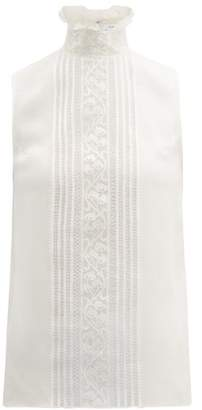 Andrew Gn Chantilly Lace And Silk Blend Crepe Top - Womens - White
