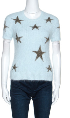 Valentino Light Blue Angora Wool Short Sleeve Star Intarsia Jumper S