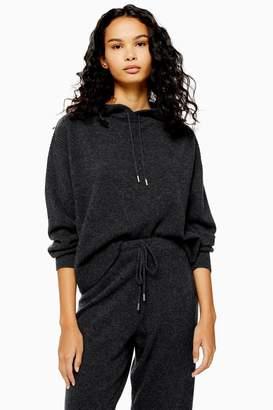 Topshop Womens Knitted 100% Cashmere Hoodie - Charcoal