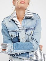 Levi's Boyfriend Patched Trucker Jacket by at Free People