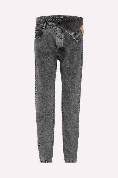 Y/Project Asymmetric Straight-leg Jeans - Charcoal