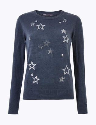 M&S CollectionMarks and Spencer Sequin Star Design Christmas Jumper