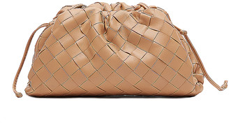 Bottega Veneta Mini Leather Woven Pouch Clutch Crossbody Bag in Sandalwood & Gold | FWRD
