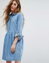 Noisy May Pemplum Hem Denim Skater Dress