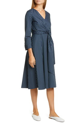 Lafayette 148 New York Penelope Stripe Faux Wrap Midi Dress