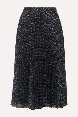 Paul & Joe Ksolare Pleated Metallic Floral-print Chiffon-jacquard Skirt - Black