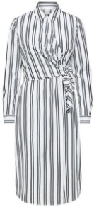 Selected Evelyn Striped Shirt Dress - 38 / Optical Snow Stripes/Black - White/Blue