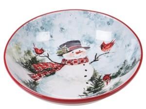 Certified International Watercolor Snowman Serving/Pasta Bowl