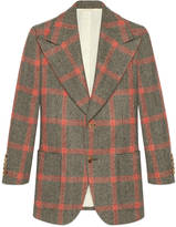 Gucci Embroidered check wool jacket