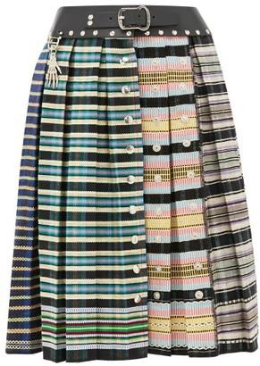 Chopova Lowena - Leather Waistband Pleated-wool Skirt - Multi