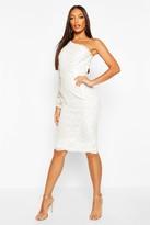 boohoo One Sleeve Corded Lace Bodycon Midi Dress