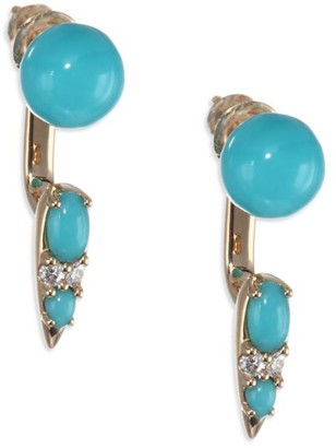 Nikos Koulis Spectrum 18K Yellow Gold, Turquoise & Diamond Drop Earrings