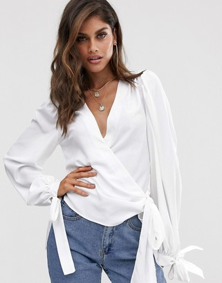 Asos DESIGN wrap top with tie cuff