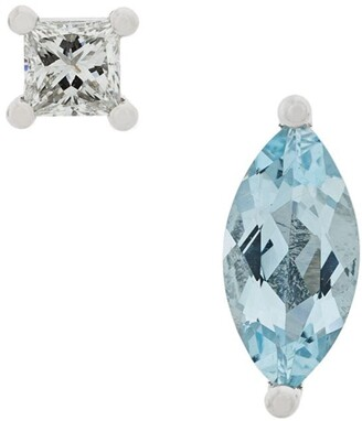 Delfina Delettrez 18kt white gold Dots Solitaire aquamarine and diamond earrings