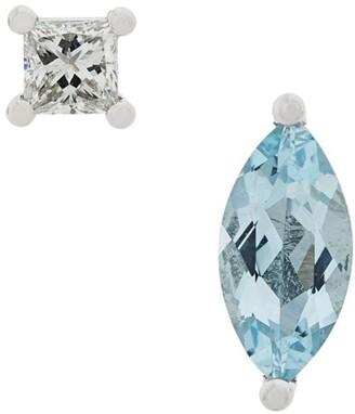 Delfina Delettrez 18kt white gold Dots Solitaire aquamarine and diamond earrings