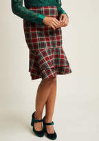 ModCloth Tiered Ruffle Pencil Skirt in Red Plaid in L