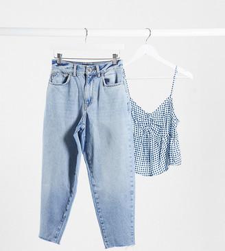 ASOS DESIGN Petite high rise 'balloon' boyfriend jeans in lightwash