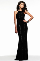 Faviana 7510 Jersey Long Evening Dress with Sequined Trim