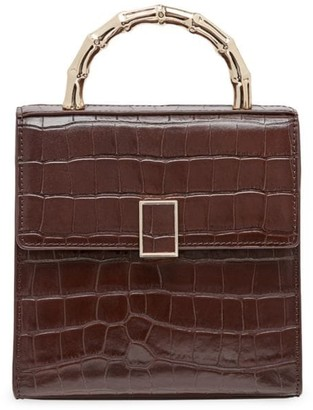 Loeffler Randall Mini Tani Croc-Embossed Leather Box Bag