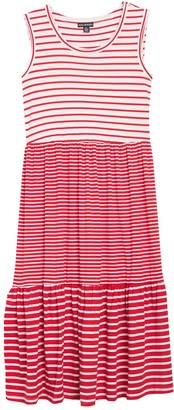 Nina Leonard Mixed Stripe Scoop Neck Midi Tank Dress