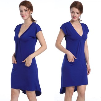 Private Label ZKHOECR V Neck Dress with Pockets for Women Girls Deep Collar Chic Stylish A Line Flared T Shirts Comfortable Soft Womens Clothing Polyester Tunics Tops Blouses Navy Blue S