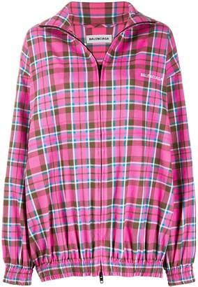 Balenciaga Check-Print Zip-Up Jacket