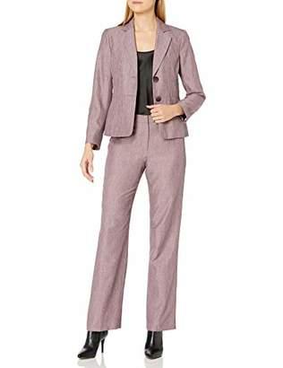 Le Suit Women's 2 Button Notch Collar Cross DYE Novelty Pant Suit