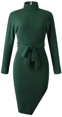 Goodnight Macaroon 'Lexi' Turtleneck Waist Tied Midi Dress (4 Colors)
