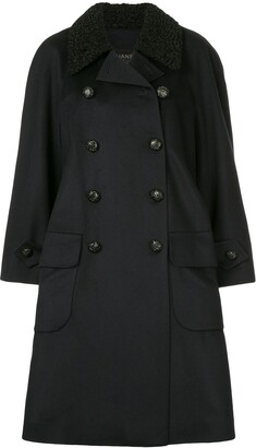 Chanel Pre Owned Collar Applique Double-Breasted Coat