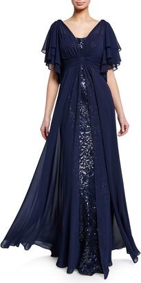 Rickie Freeman For Teri Jon Beaded Lace Gazar Flutter-Sleeve Gown w/ Asymmetric Chiffon Overlay