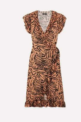 De La Vali Cadaques Ruffled Animal-print Crepe De Chine Wrap Dress - Light brown