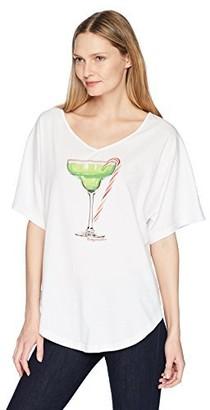 Margaritaville Women's Short Sleeve Relaxed Candycane Margarita V Neck T-Shirt