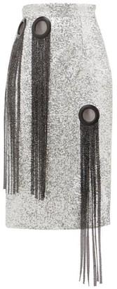 Germanier - Chainmail-tassel Sequinned Pencil Skirt - Silver
