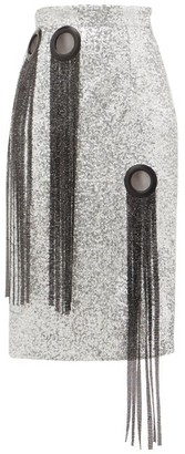 Germanier - Chainmail-tassel Sequinned Pencil Skirt - Womens - Silver