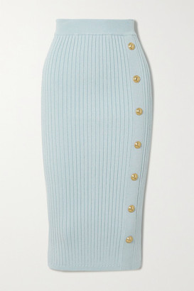Balmain Button-embellished Ribbed Stretch-knit Midi Skirt - Blue